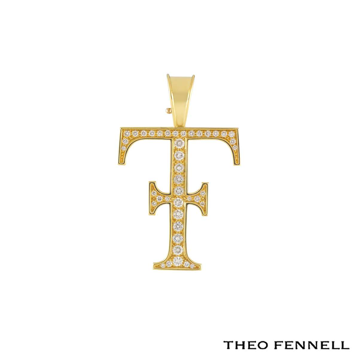 Theo Fennell Logo 18k Yellow Gold Diamond Pendant 1.09ct